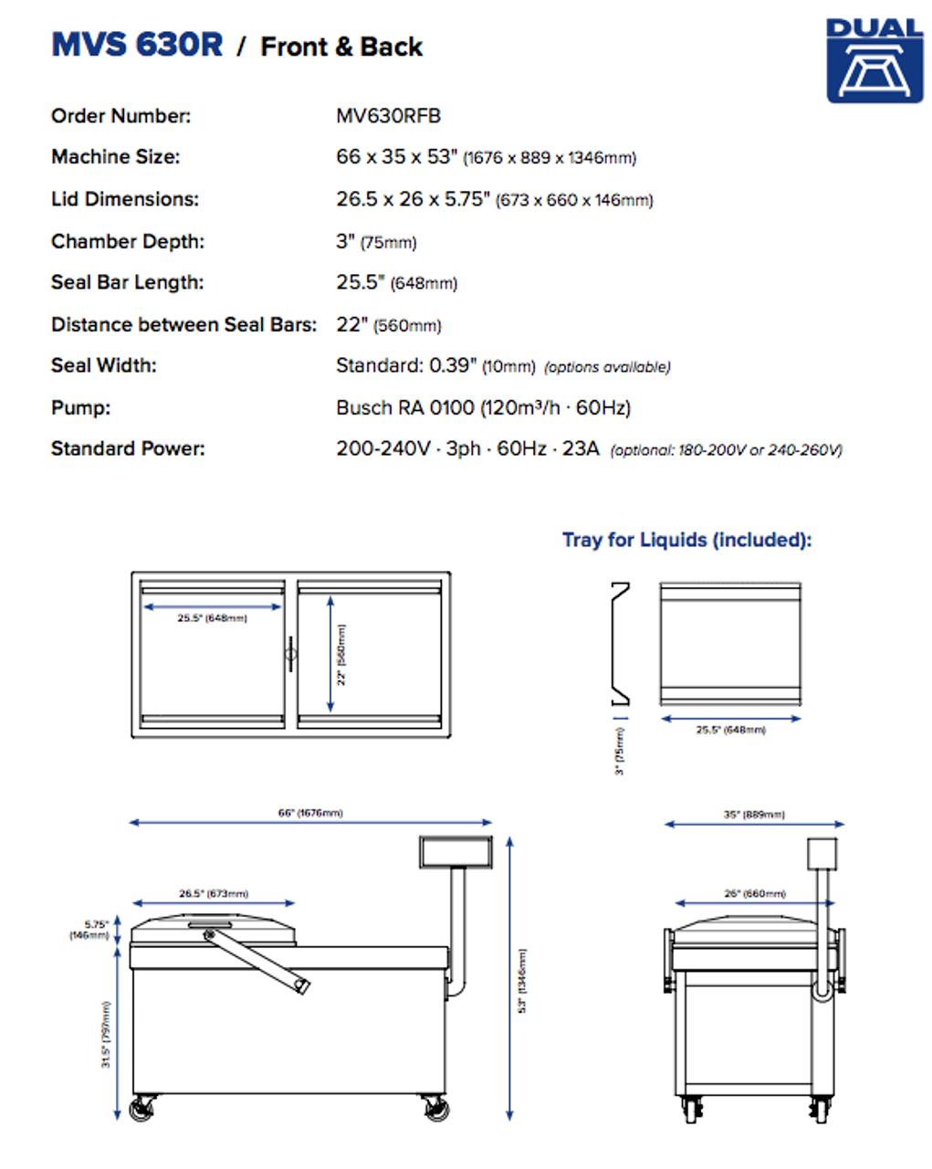 "MiniPack MVS 630R VacBasic - ""Recessed Deck"" Double Chamber Vacuum Sealer"