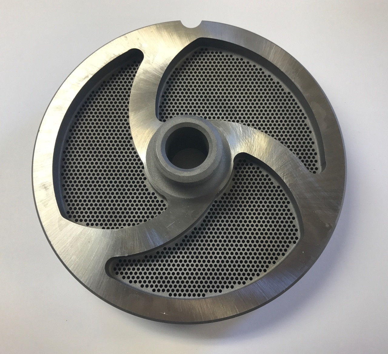 "#56 Speco Meat Grinder Plate with 1/16'' Holes - ""Hub Plate"""