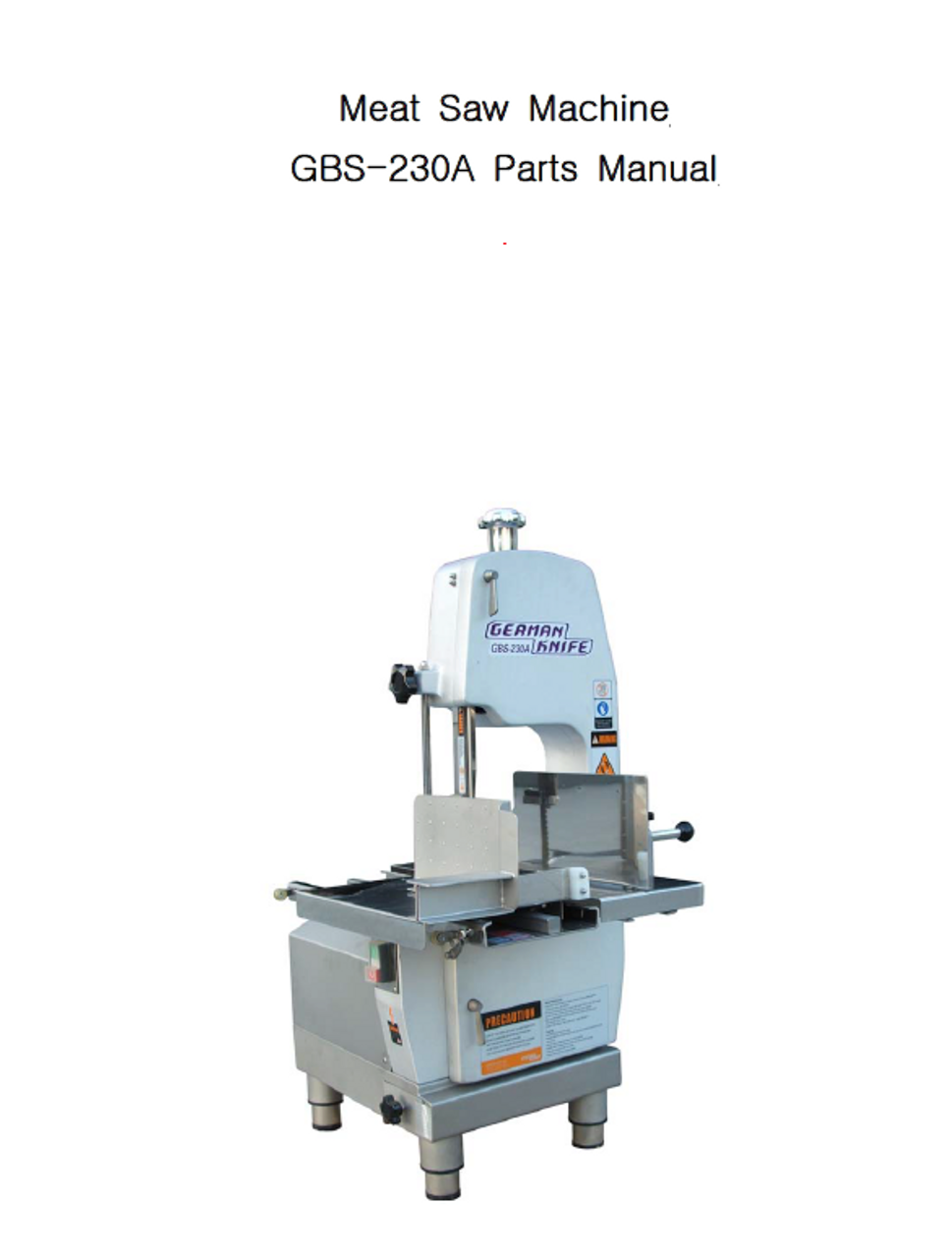 German Knife - GBS-230a - Meat BandSaw Parts List