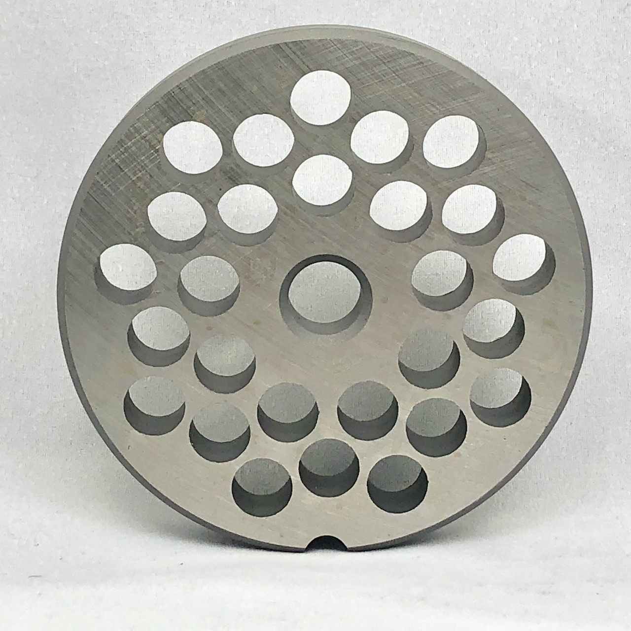 #22 Speco Meat Grinder Plate with 3/8'' Holes - Reversible & Hubbed Plate - 103286 & 102072