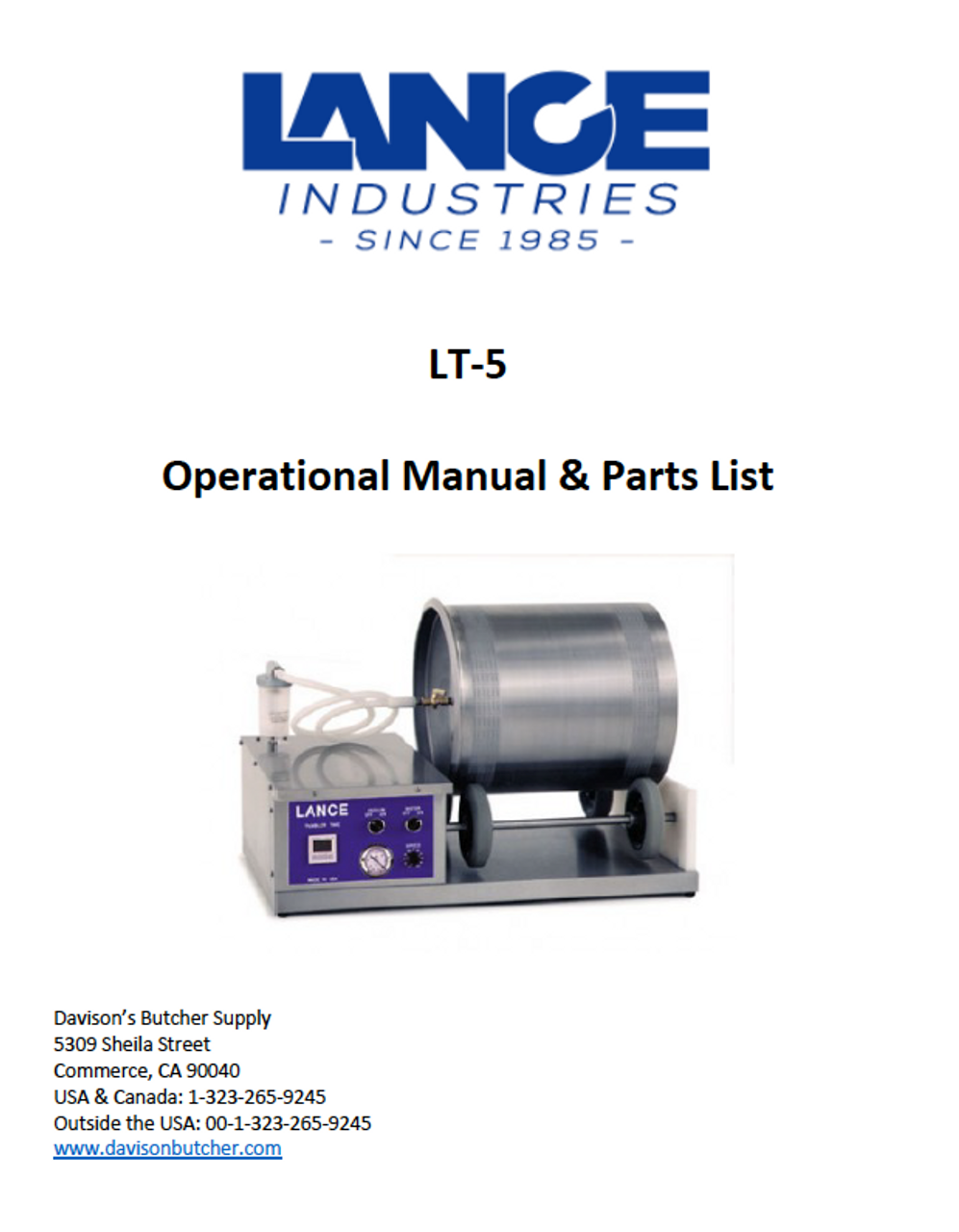 LT-5 - Lance Tumbler Operational Manual & Parts List