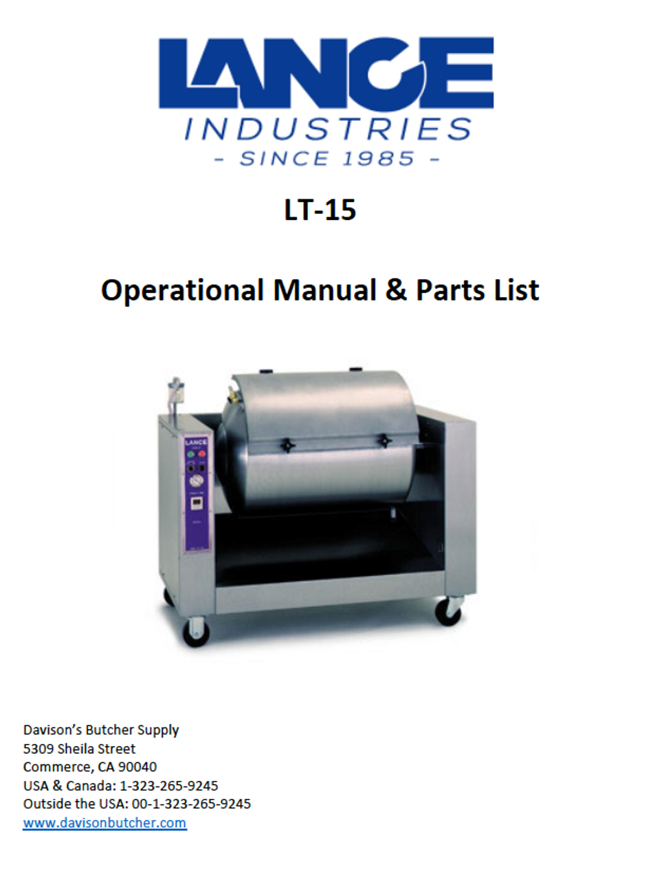 LT-15 - Lance Tumbler Operational Manual & Parts List
