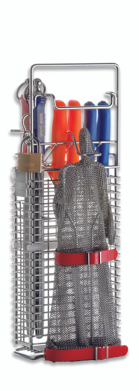 F. Dick Hygienic Knife Holder for 4 Knives, 2 Steels & Glove Holder - 9025001