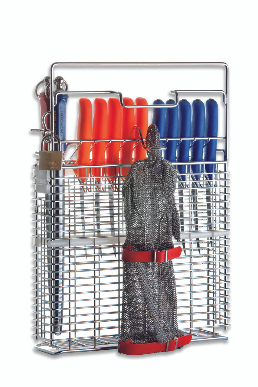 F. Dick Hygienic Knife Holder for 10 Knives, 2 Steels & Glove Holder - 9021101