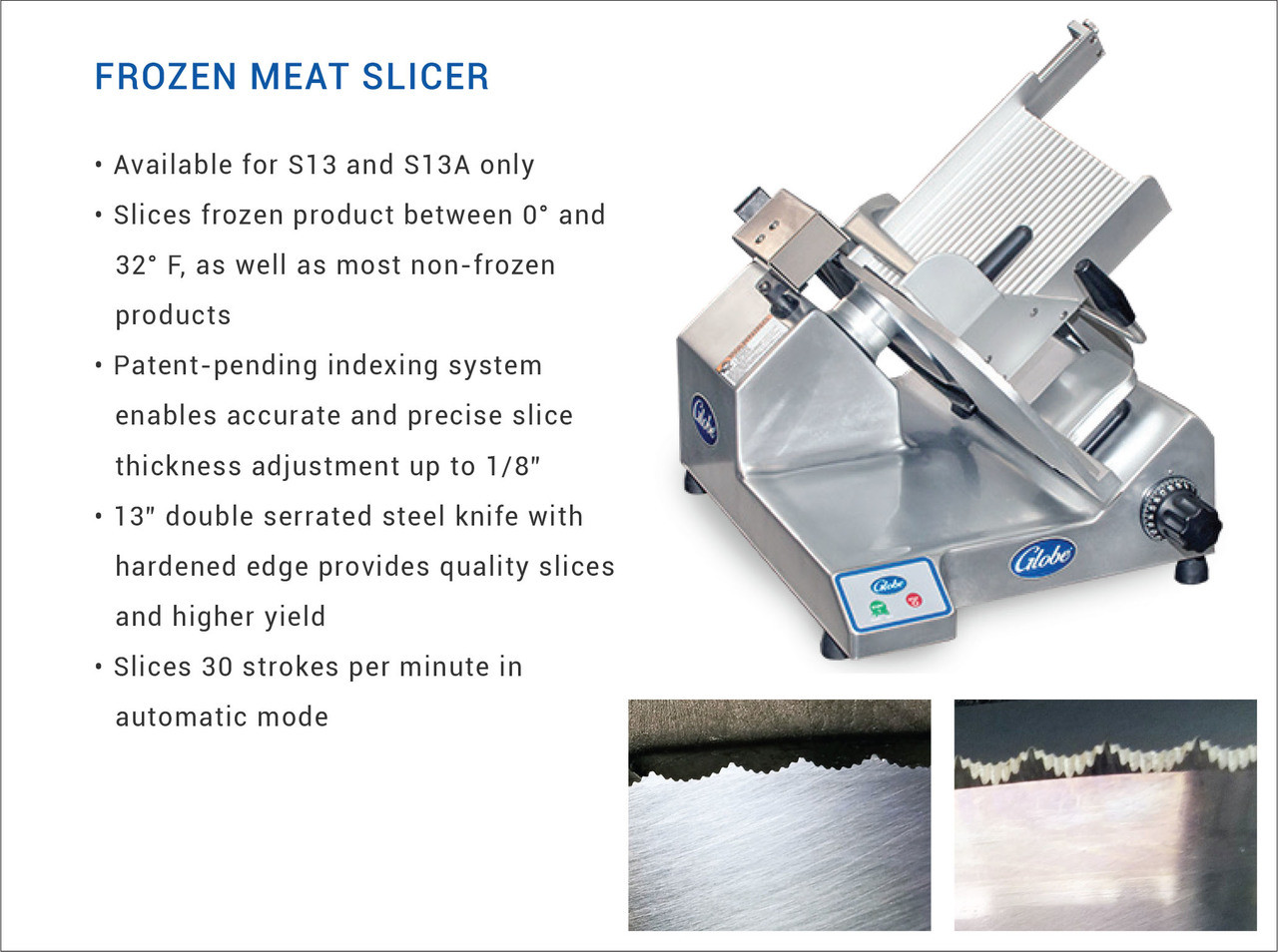 "Globe S13-F Manual 13"" Frozen Meat Slicer - 1/2HP"
