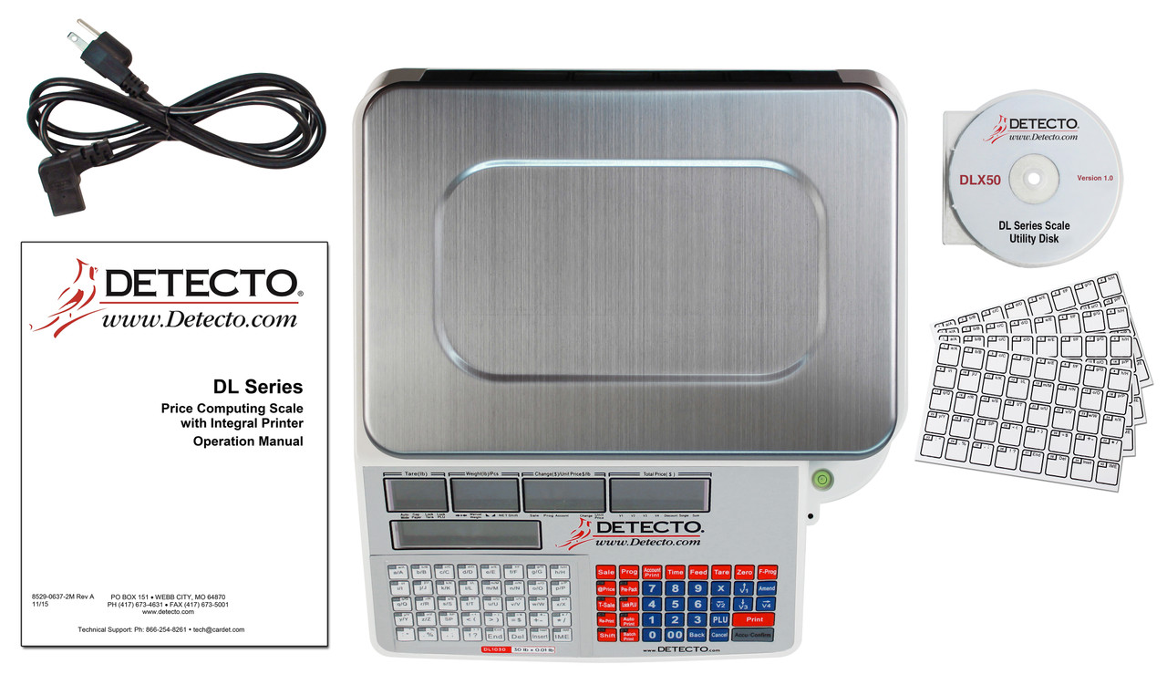 Detecto DL1030 30lb. Label Printing Scale with Pole/Tower