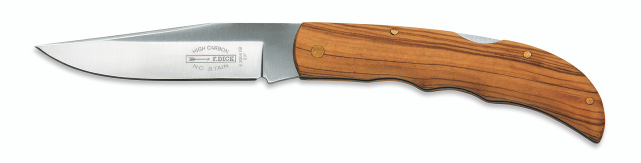 "F.Dick - 3 1/2"" Folding Pocket Knife -  Olive Wood Handle - 8200409"