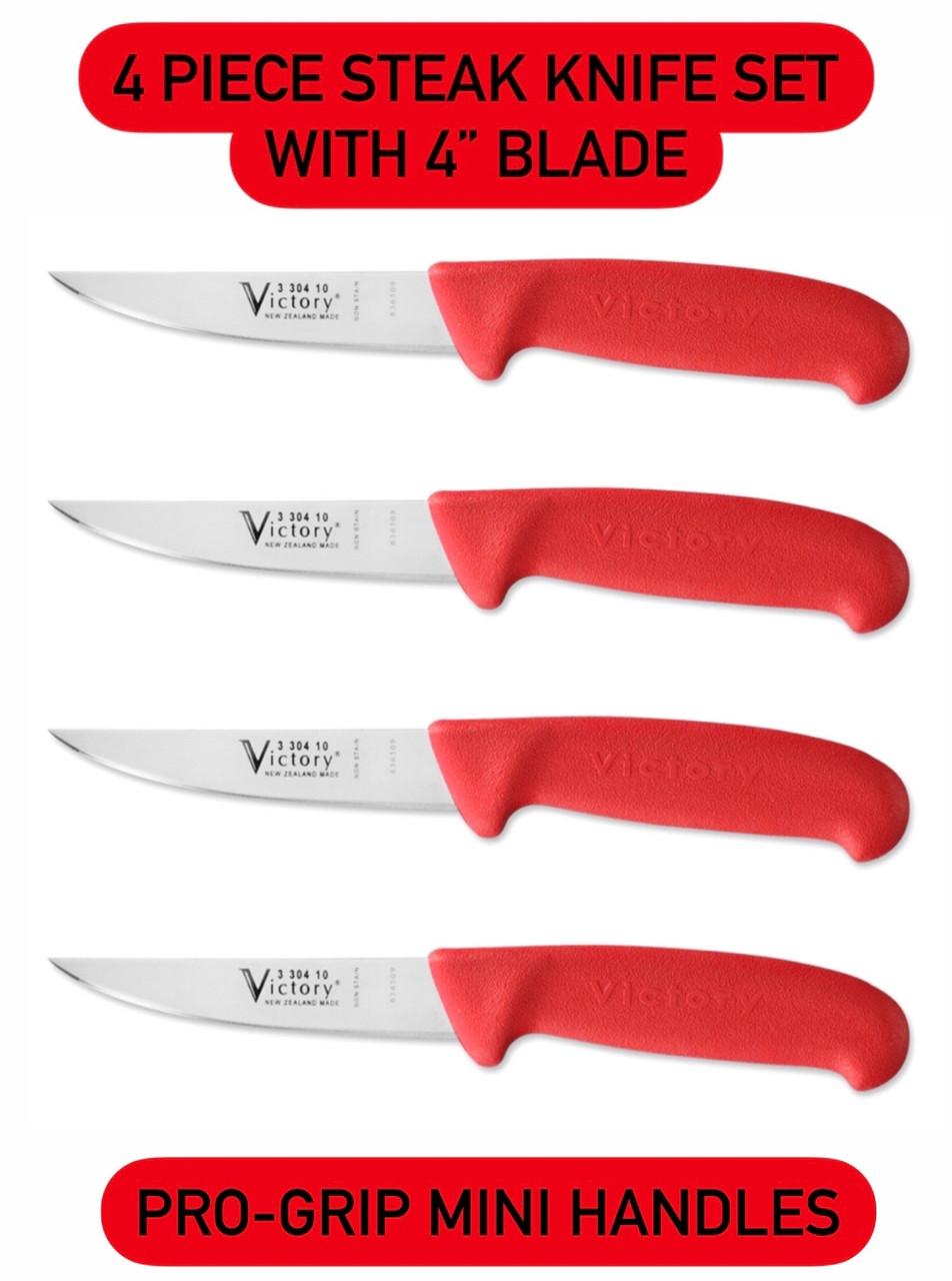 """4"""" - 10cm -- Steak Knife - 3/304/10/202SR - Set of 4  """"Red Handles"""""""
