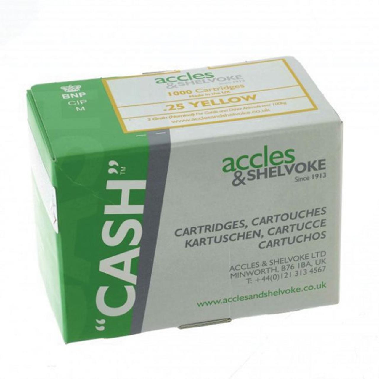 Accles & Shelvoke CASH® .25 Caliber Yellow 2 Grain Cartridges - 1,000/Box - 75-300 lbs. (Sheep, Goats, Market Hogs)