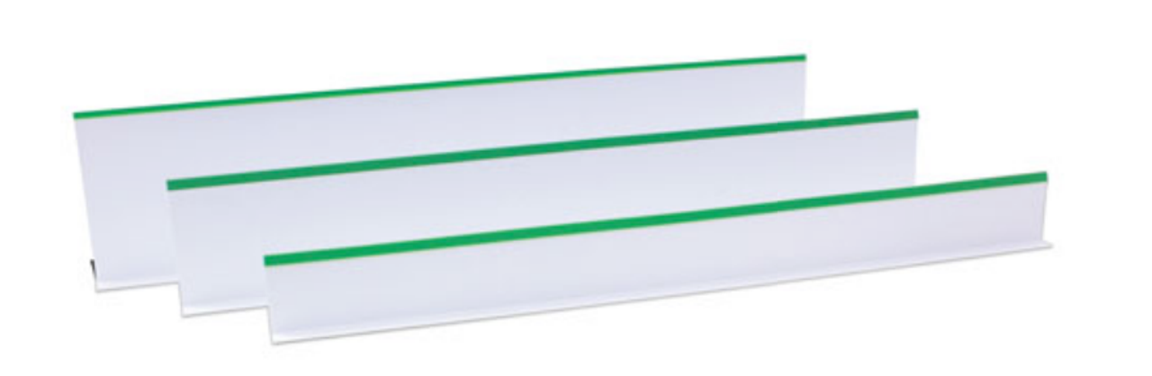 Plastic Dividers - White with Green Tip 3'' High