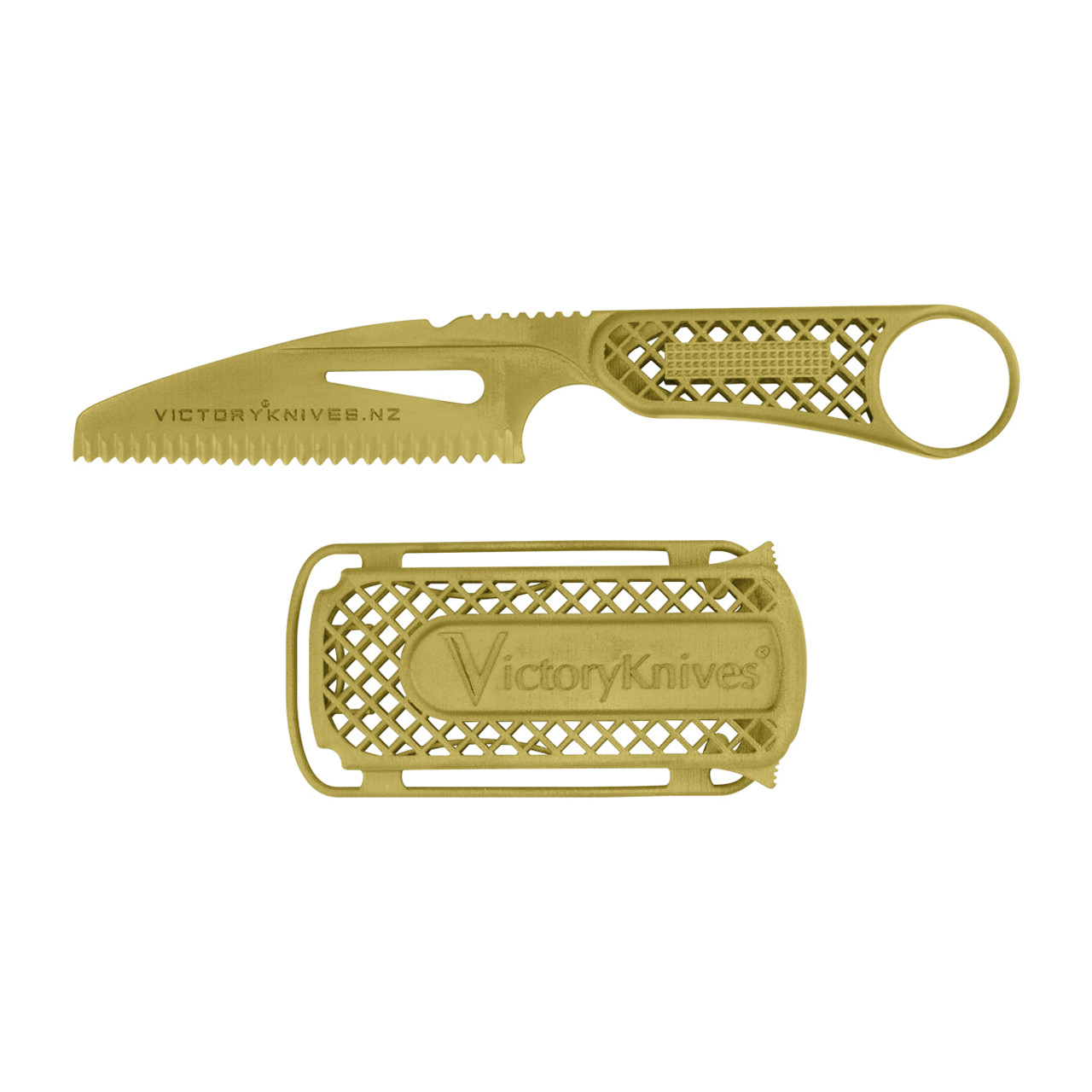 Titanium Knife and Sheath - XTB-1-Gold - (Gold PVD)
