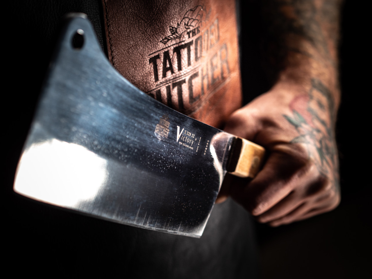 """8-2/3"""" - 22cm -- Cleaver - 2/229/22/120WD - Tattoo Butcher  """"Special Edition"""""""