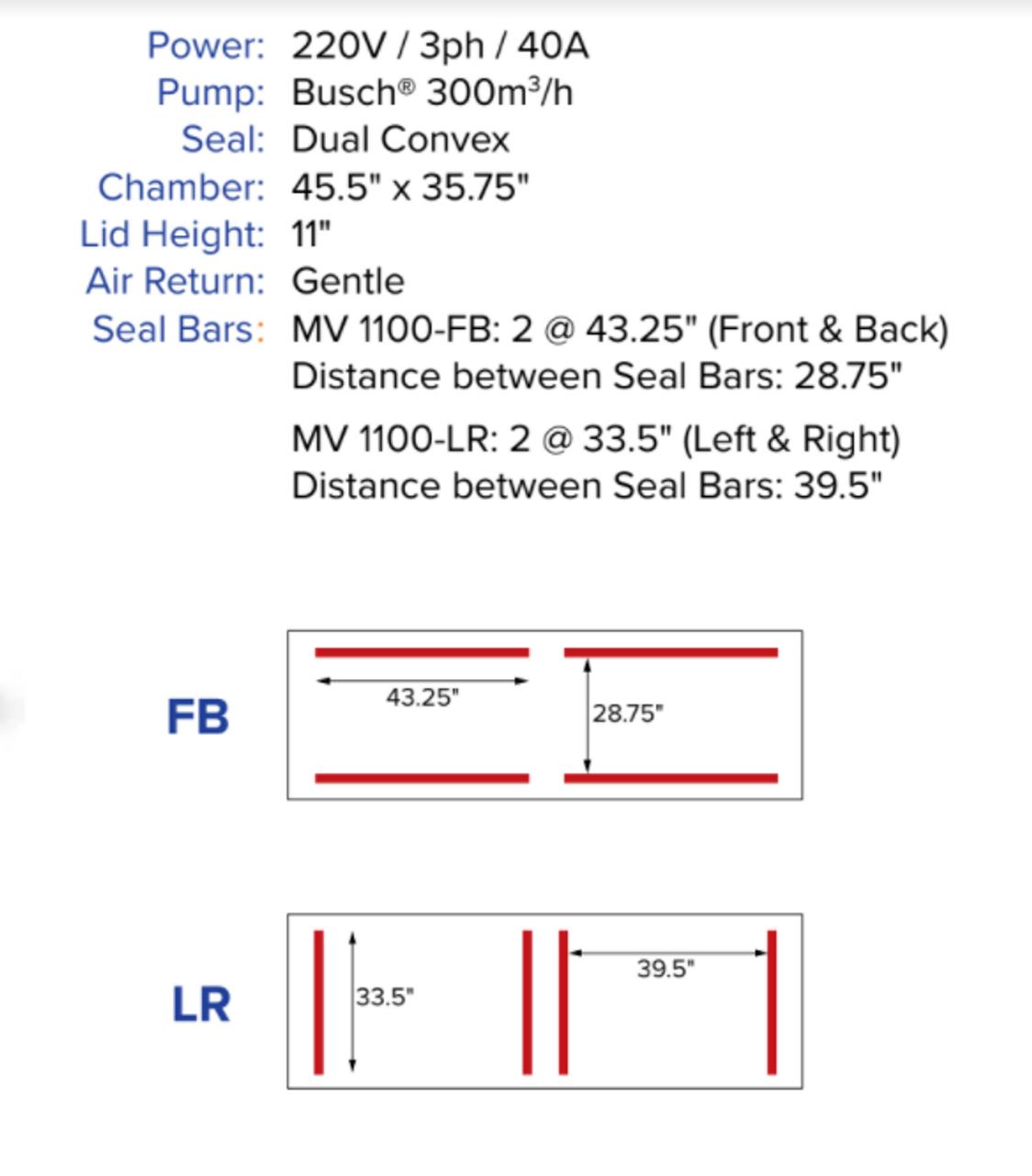 "MiniPack MV1100 VacBasic - Double Chamber Vacuum Sealer - ""Left & Right"""