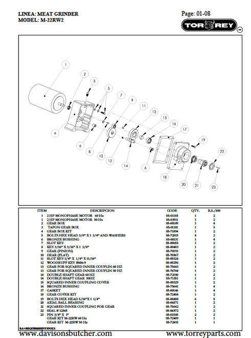 TorRey M-22RW2 Meat Grinder Parts List