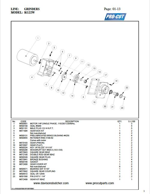 Pro Cut KG-22W Meat Grinder Parts List