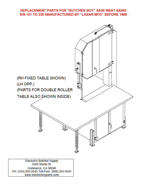 Butcher Boy SA30 - Meat Bandsaw Parts List (Old Style)