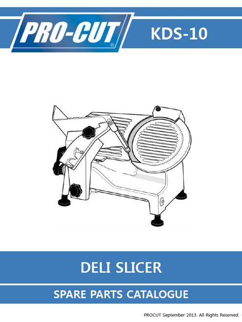 ProCut KDS-10 Meat & Deli Slicer Parts List