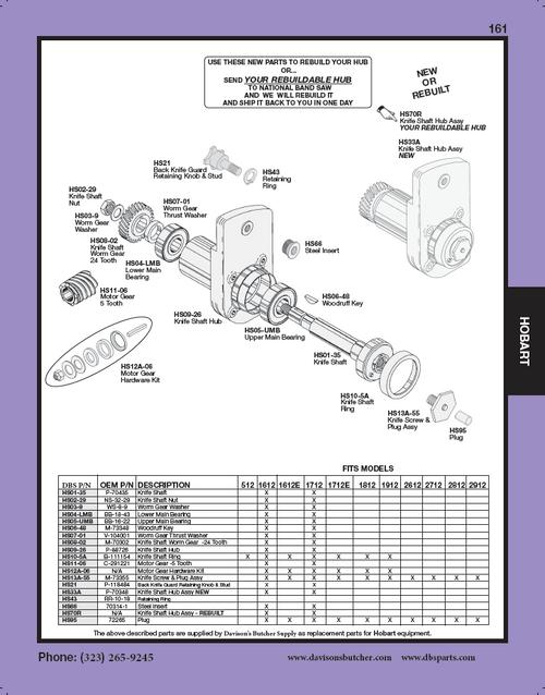 """Hobart """"All Models"""" - Meat & Deli Slicer Parts List"""