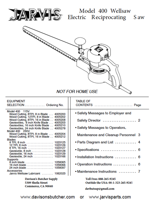 Jarvis Wellsaw Model 400 Parts List