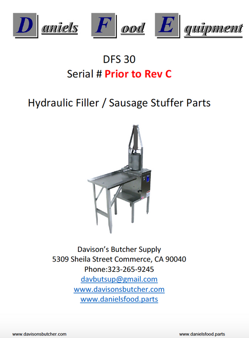"Daniels Food DFS 30 Sausage Stuffer / Filler  Parts - Parts List - ""Prior to Rev C"""