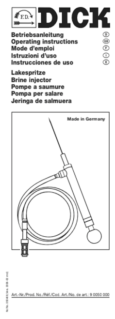 F.Dick Brine Injector - Operating Instructions & Parts