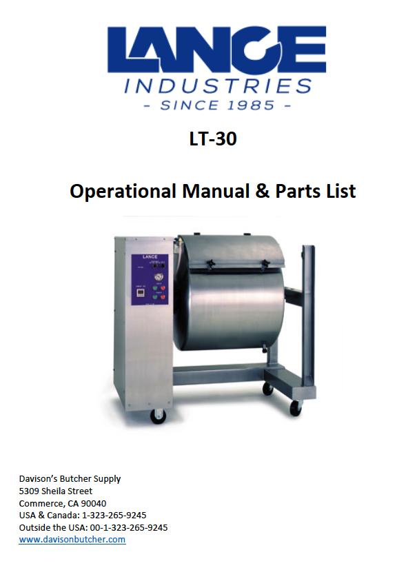 LT-30 - Lance Tumbler Operational Manual & Parts List - Davison's