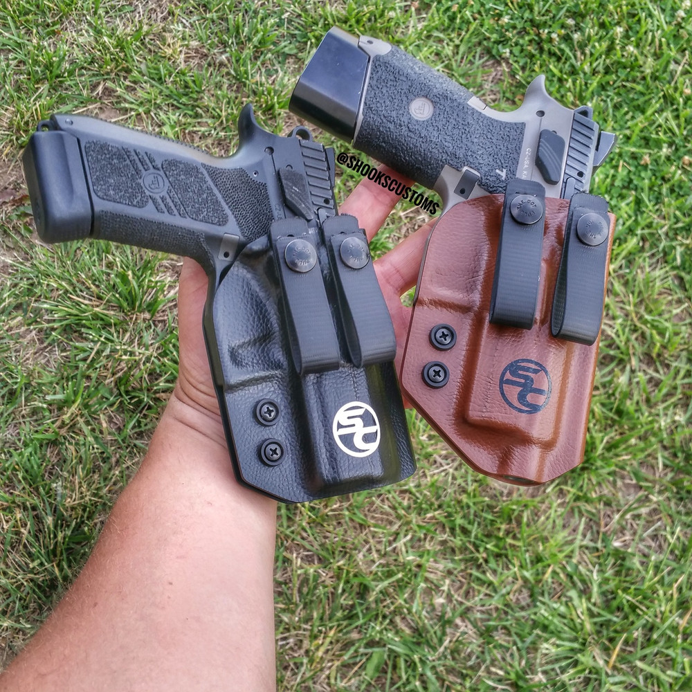 CZ P07s. Using dual soft loop attachments. Faux leather black and chocolate brown. Chocolate brown holster accommodates suppressor height sights and covers the threaded barrel.