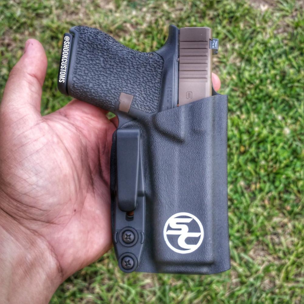 """Glock 43 using 1.5"""" tuckable overhook."""