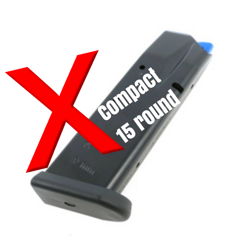Will not fit the new 15 round compact mags with the thicker base plate