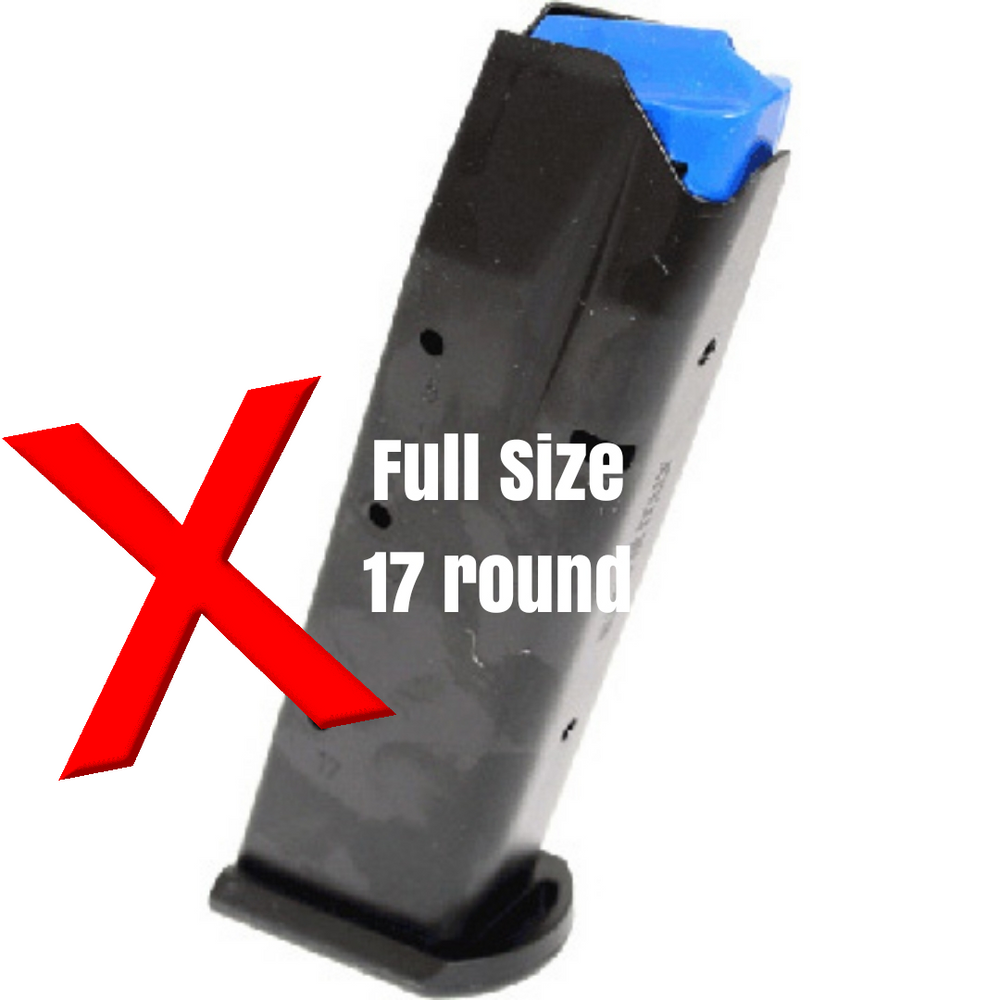 Will not fit the new 17 round full size mags with the thicker base plate