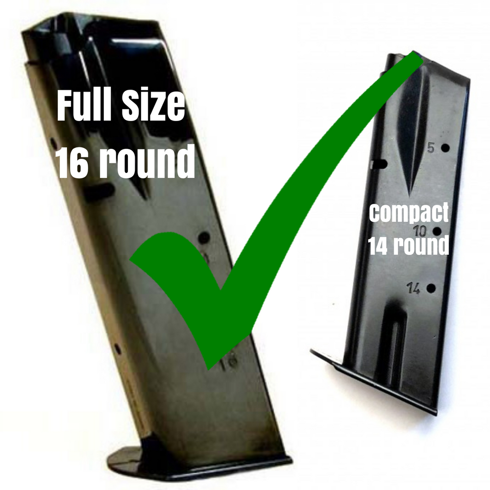 Will fit the older style 14 round compact and 16 round full size mags with the thin base plates
