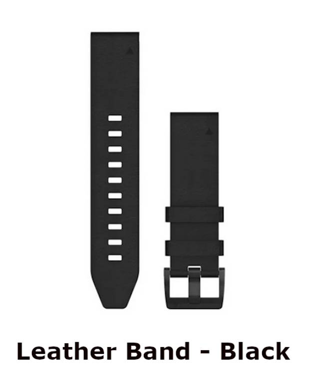 leather band in black - garmin replacement for 22mm watchband - okie dog supply