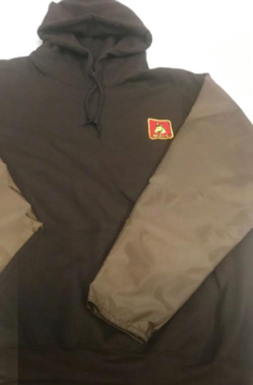 brown hoodie with brown briarproof sleeves - mule hunting clothes at okie dog supply