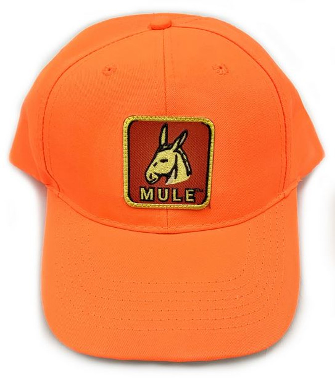 mule brand bright orange hat with trademarked patch logo at okie dog supply