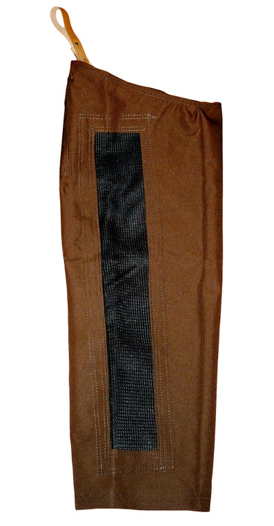 Mule Brand summertime chaps in brown with black mesh vent in back of legs at okie dog supply