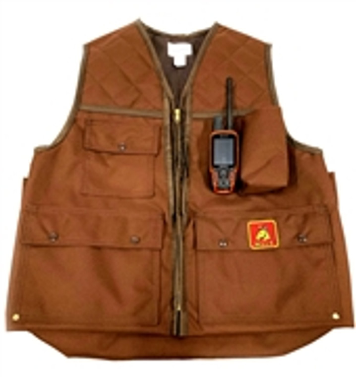 mule front load game vest in brown with garmin gps tracking remote shown by gear pocket