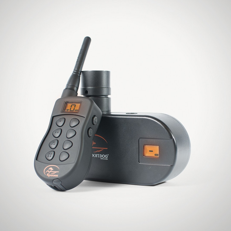 The Transmitter sends a signal to the Receiver, which can be used with the SportDOG Launcher Basket, and can also be fitted to most brands of bird launchers or throwers.