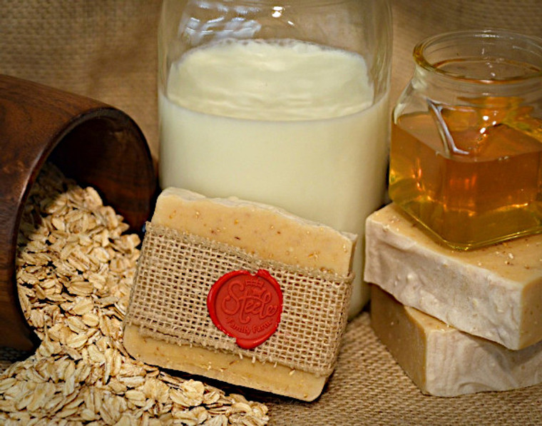 oatmeal and honey goat milk soap made in oklahoma and available at okie dog supply