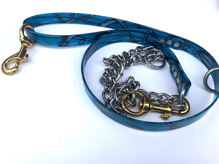 blue camo lead with chain - hand crafted at okie dog supply