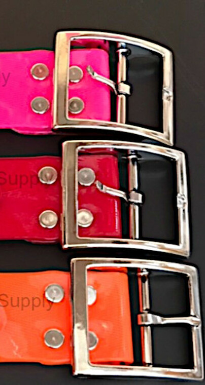 1.5 inch solid dayglo collars with premium hardware built tough for you at okie dog supply