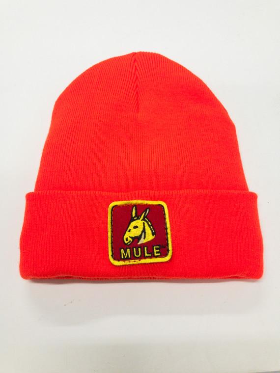 safety orange knit toboggan cap with mule patch sewn on