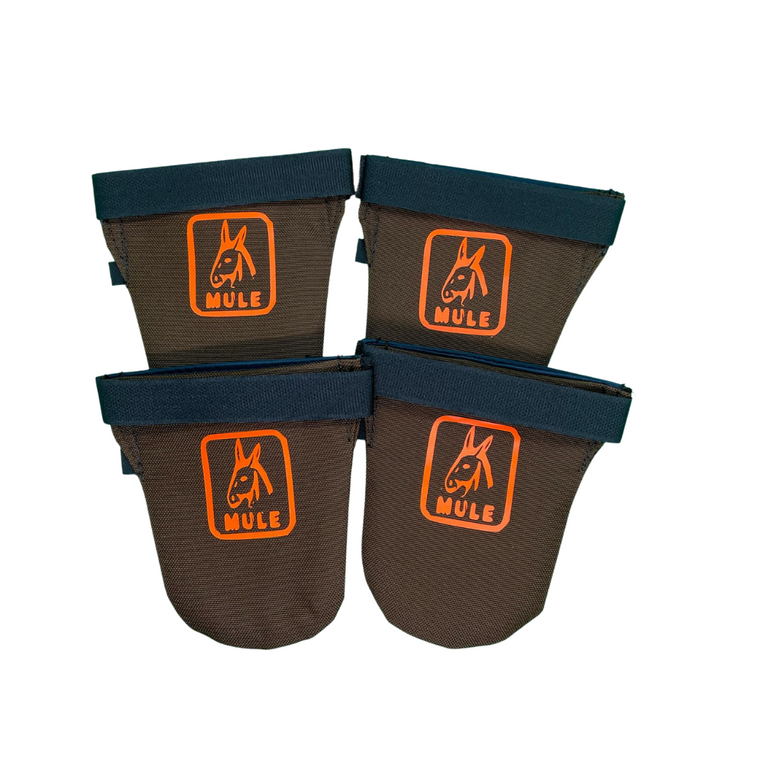 Mule Brand dog boots - made tough and fits great! Keeps your dogs feet safe and secure - great for young pups learning to run in brush - available at OKIE DOG SUPPLY!