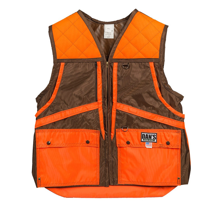 Dans Hunting Gear lightweight brown and orange game vest. Load game in front and move to back game bag that unzips. Available at OKIE DOG SUPPLY!