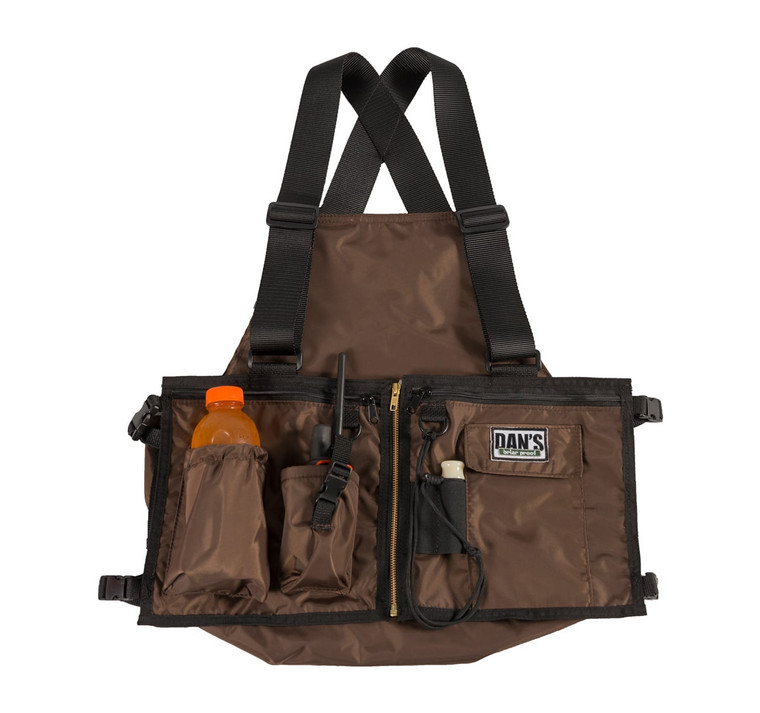 dans hunting gear ultimate strap vest - in brown. Made in the USA. Suspender like vest with gamebag in back. Available at OKIE DOG SUPPLY!