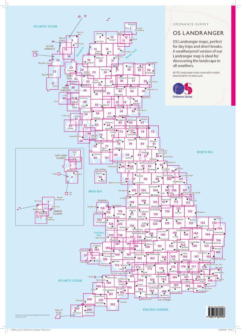 OS LANDRANGER PAPER MAP 1:50,000
