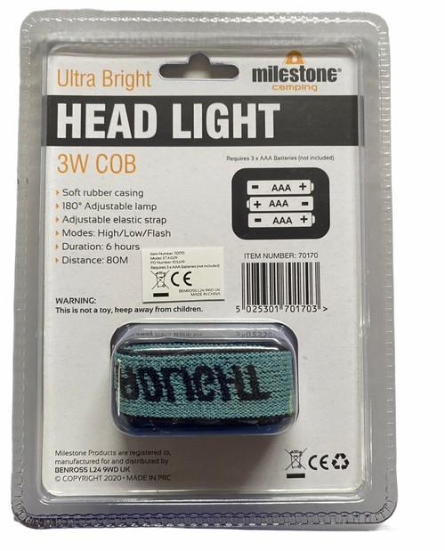 Milestone Ultra Bright Head Torch