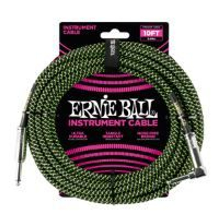 Ernie Ball 10ft Instrument  Cable Black/Green