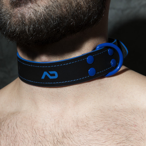 Addicted Fetish Leather Collar Royal Blue ADF44