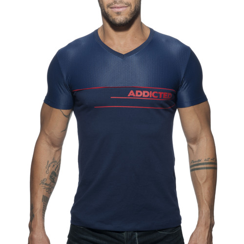 Addicted V-Neck AD Combi Mesh T-Shirt Navy AD660-09 (AD660-09)
