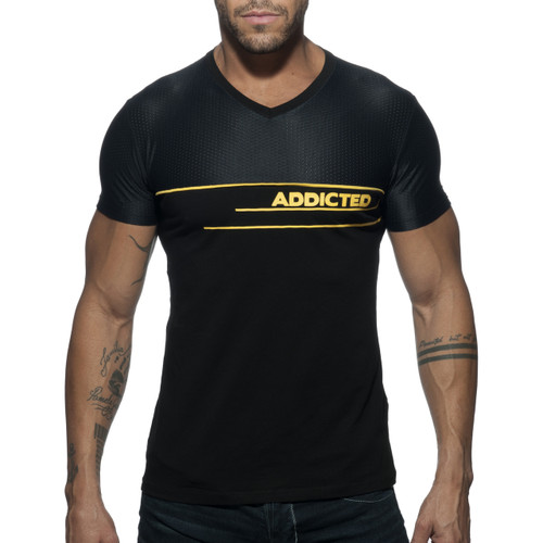 Addicted V-Neck AD Combi Mesh T-Shirt Black AD660-10 (AD660-10)